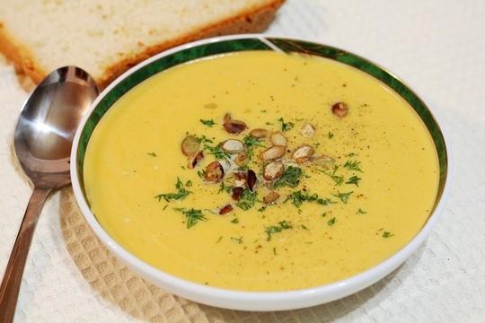 Тыквенный крем суп со сливками в мультиварке