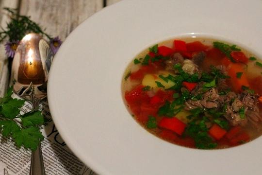 Суп из говядины с томатами в мультиварке