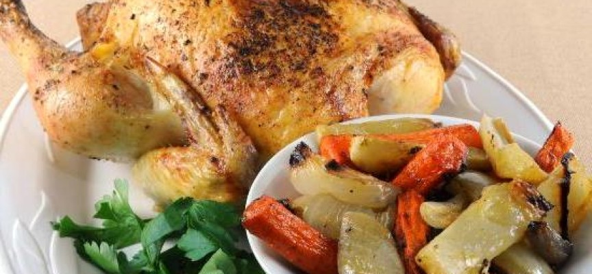 Курица фаршированная овощами